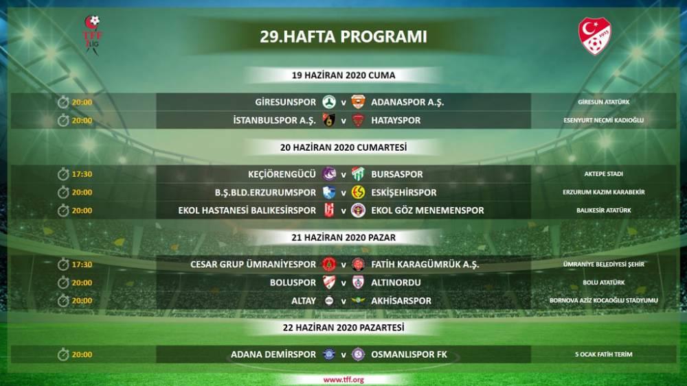 TFF 1. Lig'de 29, 30, 31 ve 32. hafta programlarını açıkladı! 1