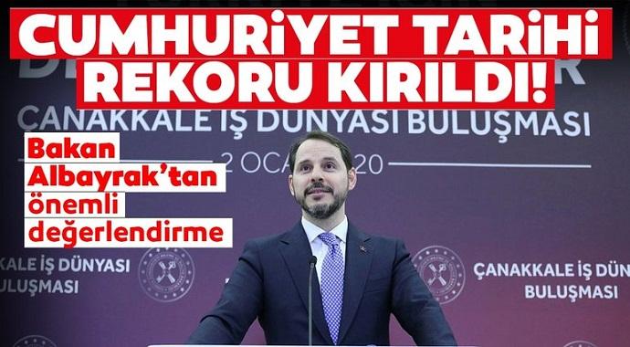 Bakan Albayrak'tan ihracat açıklaması: Cumhuriyet tarihi rekoru kırıldı