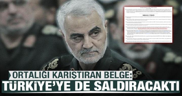 Son Dakika... Ortalığı karıştıran belge: Süleymani, Türkiye'ye de saldıracaktı