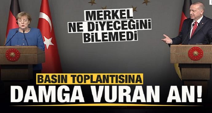 Başkan Erdoğan-Merkel basın toplantısına damga vuran an!