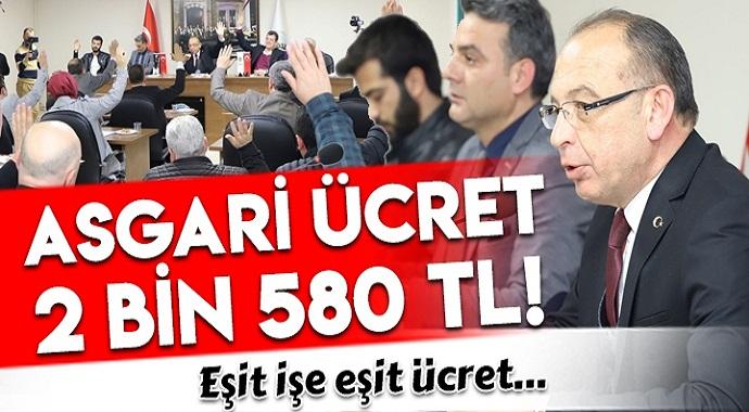 Bir Belediye Meclisi Daha  Karar Aldı! Asgari Ücret 2 bin 580 TL Oldu