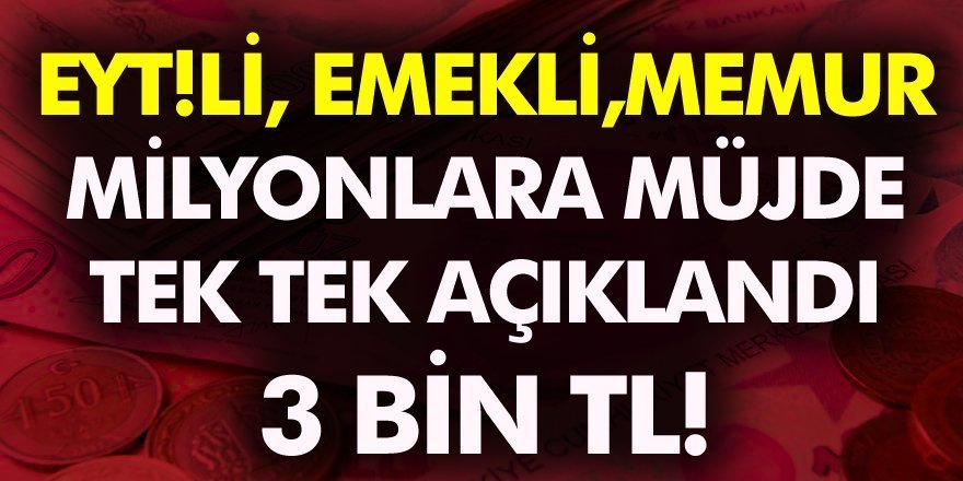SSK, SGK, Bağkur, Emekli, Memur, EYT'li milyonlarca kişiyi ilgilendiriyor! 3 bin lira İşte detaylar