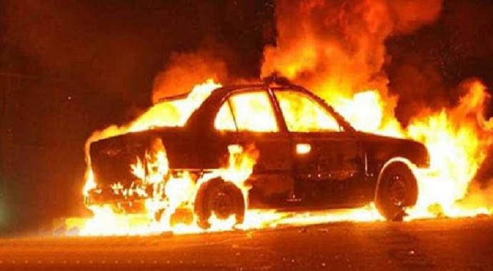 E-5'te bir otomobil alev alev yandı, trafik durma noktasına geldi