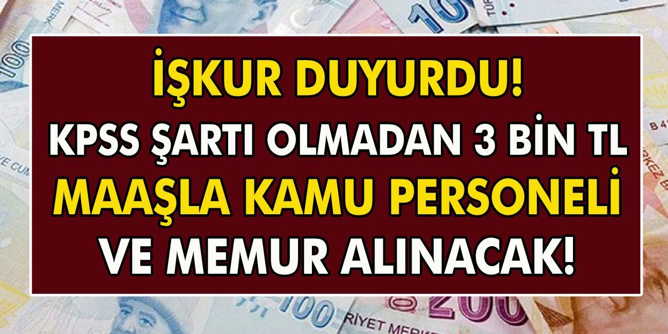 İŞKUR Duyurdu! KPPS Şartı Olmadan 3 Bin TL Maaşla Kamu Personeli Ve Memur Alınacak!