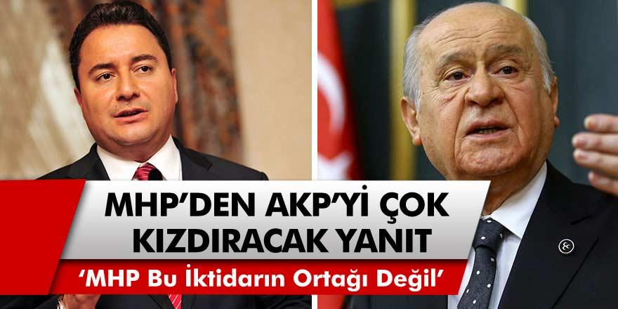 """MHP'den AKP'yi çok kızdıracak yanıt! """"MHP bu iktidarın ortağı değil"""""""