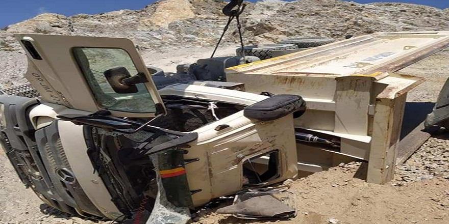Aydın Söke'de, maden ocağında moloz boşaltan kamyon devrildi 1 işçi ağır yaralandı