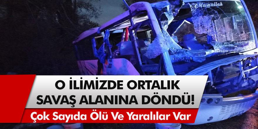 Tarım işçilerini taşıyan midibüs ile ticari araç çarpıştı: Ortalık savaşalanına döndü! 1 ölü, 24 yaralı