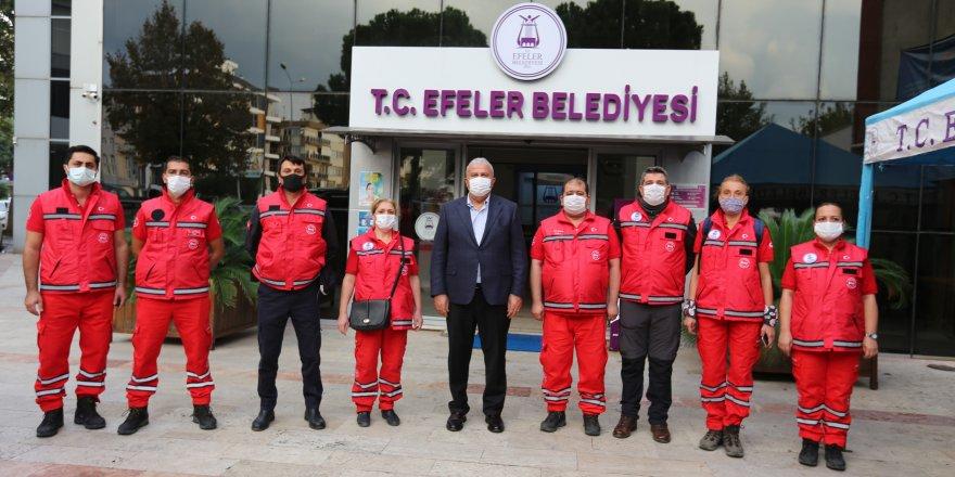 Efeler Belediyesi Arama Kurtarma 11 kişilik EFAK Ekibi İzmir'e sevk edildi