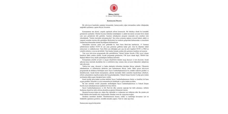 Bülent Arınç, Yüksek İstişare Kurulu üyeliğinden istifa etti