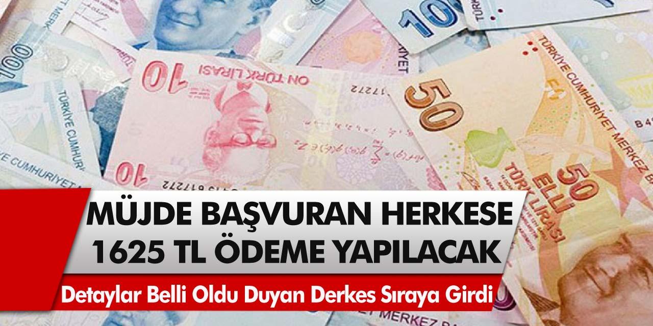 Hükümetten müjde! Başvuran herkese 1625 TL ödeme yapılacak!Ödeme detayları belli oldu, duyan herkes sıraya girdi…
