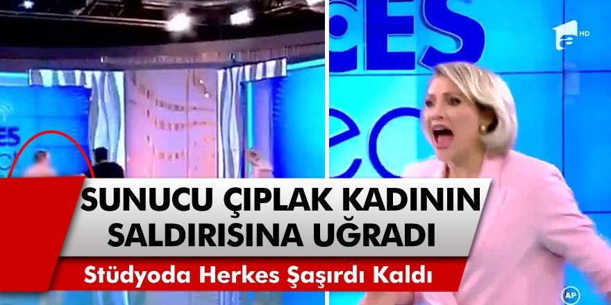 Romanya'da Televizyon Programında Sunucu Mirela Vaida, Çıplak Kadının Saldırısına Uğradı