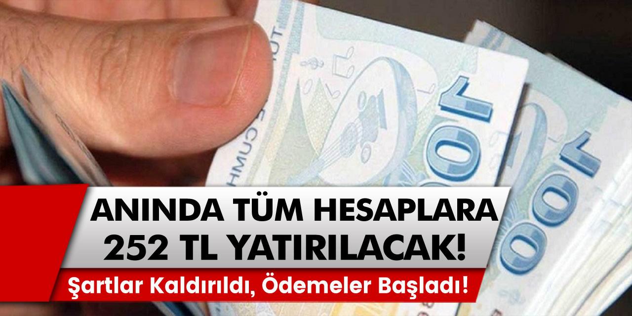 Hesaplara anında 252 TL ödeme olacak: Beklenen şartlar kaldırıldı ve sonunda ödemeler başladı…